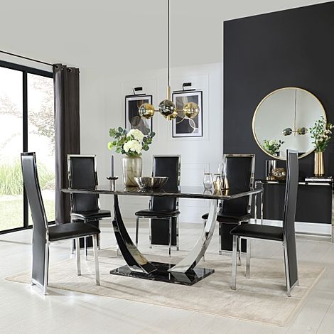 Peake Black Marble and Chrome Dining Table with 6 Celeste Black Leather Chairs