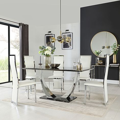 Peake Black Marble and Chrome Dining Table with 4 Celeste White Leather Chairs