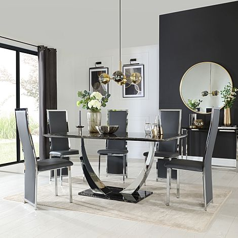 Peake Black Marble and Chrome Dining Table with 6 Celeste Grey Leather Chairs