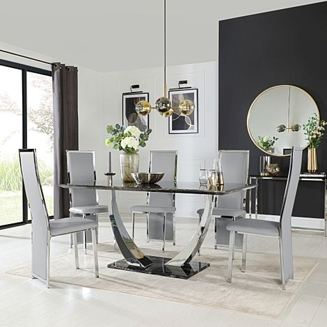 Peake Black Marble and Chrome Dining Table with 6 Celeste Light Grey Leather Chairs