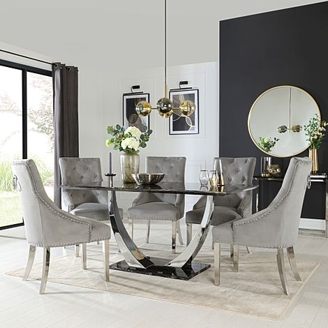 Peake Black Marble and Chrome Dining Table with 6 Imperial Grey Velvet Chairs