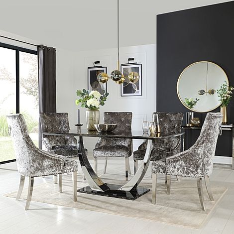 Peake Black Marble and Chrome Dining Table with 6 Imperial Silver Velvet Chairs
