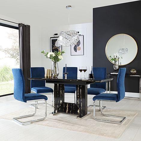 Florence Black Marble Extending Dining Table with 6 Perth Blue Velvet Chairs