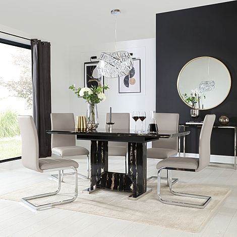 Florence Black Marble Extending Dining Table with 6 Perth Stone Grey Leather Chairs