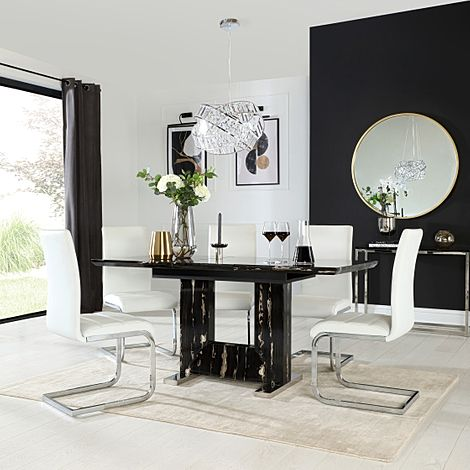 Florence Black Marble Extending Dining Table with 6 Perth White Leather Chairs