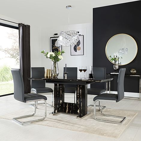 Florence Black Marble Extending Dining Table with 4 Perth Grey Leather Chairs