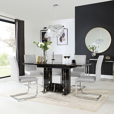 Florence Black Marble Extending Dining Table with 6 Perth Light Grey Leather Chairs