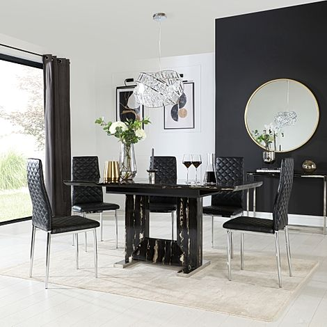 Florence Black Marble Extending Dining Table with 6 Renzo Black Leather Chairs
