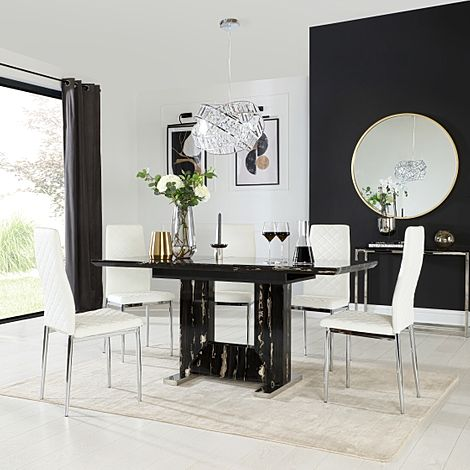 Florence Black Marble Extending Dining Table with 6 Renzo White Leather Chairs