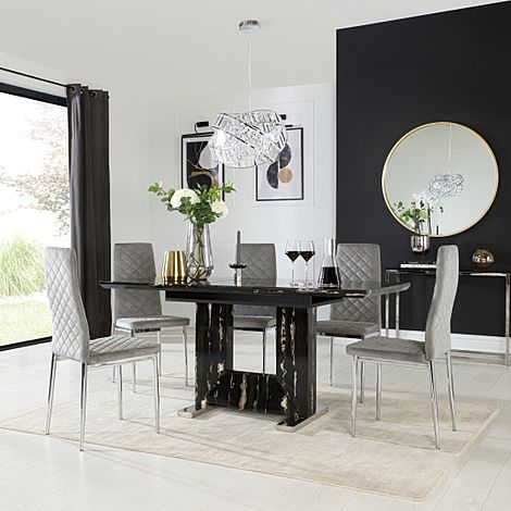 Florence Black Marble Extending Dining Table with 6 Renzo Grey Velvet Chairs