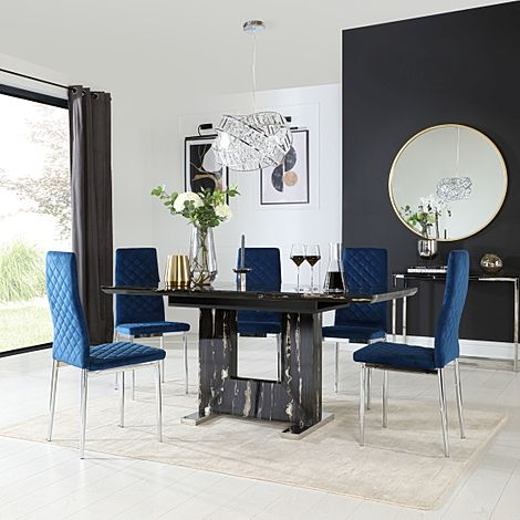Florence Black Marble Extending Dining Table with 6 Renzo Blue Velvet Chairs
