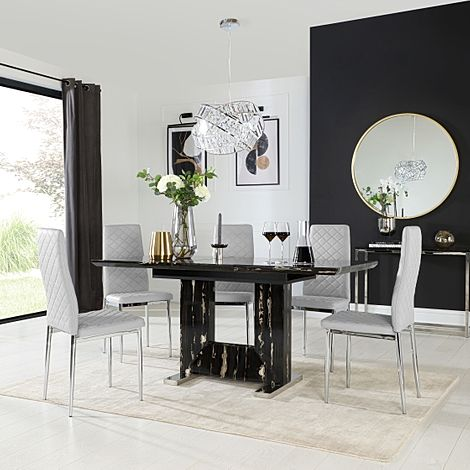 Florence Black Marble Extending Dining Table with 6 Renzo Light Grey Leather Chairs