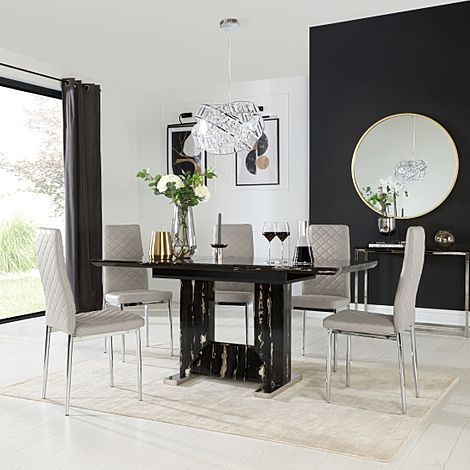 Florence Black Marble Extending Dining Table with 6 Renzo Taupe Leather Chairs