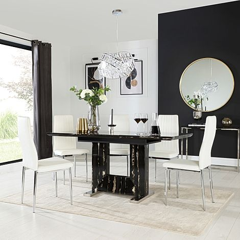Florence Black Marble Extending Dining Table with 6 Leon White Leather Chairs