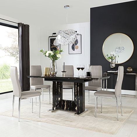 Florence Black Marble Extending Dining Table with 4 Leon Taupe Leather Chairs
