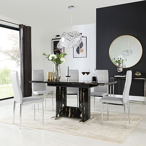 Florence Black Marble Extending Dining Table with 6 Leon Light Grey Leather Chairs