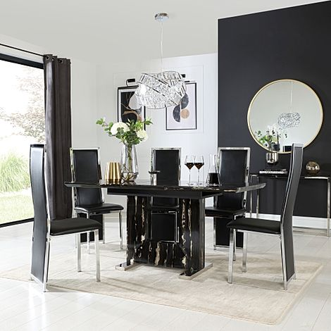 Florence Black Marble Extending Dining Table with 6 Celeste Black Leather Chairs