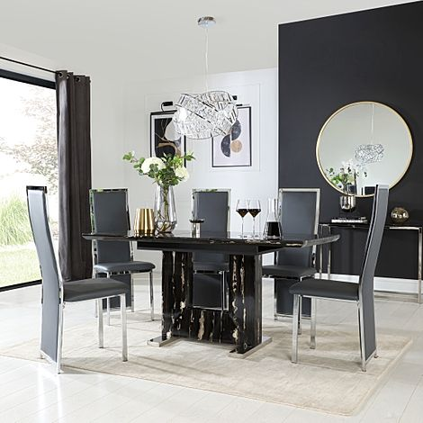 Florence Black Marble Extending Dining Table with 6 Celeste Grey Leather Chairs