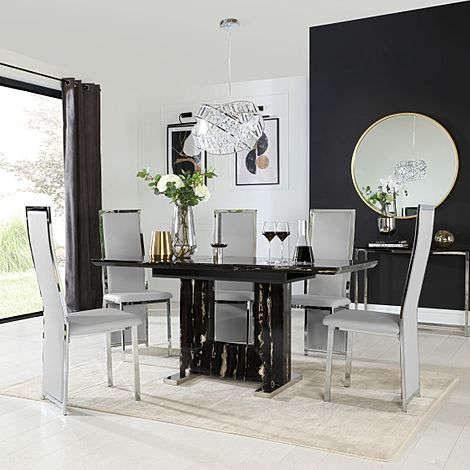 Florence Black Marble Extending Dining Table with 6 Celeste Light Grey Leather Chairs