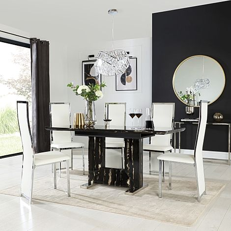 Florence Black Marble Extending Dining Table with 6 Celeste White Leather Chairs