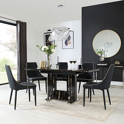 Florence Black Marble Extending Dining Table with 6 Modena Black Fabric Chairs