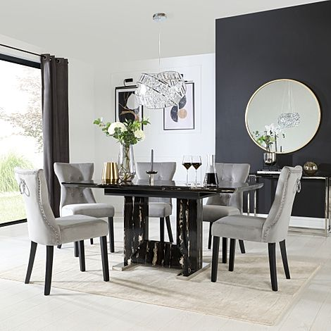 Florence Black Marble Extending Dining Table with 6 Kensington Grey Velvet Button Back Fabric Chairs
