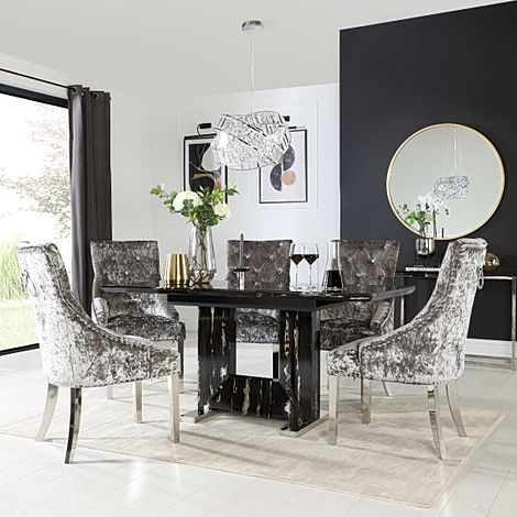 Florence Black Marble Extending Dining Table with 6 Imperial Silver Velvet Button Back Fabric Chairs