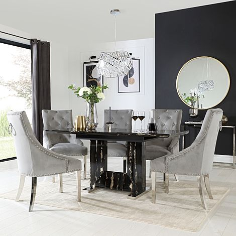 Florence Black Marble Extending Dining Table with 4 Imperial Grey Velvet Button Back Fabric Chairs