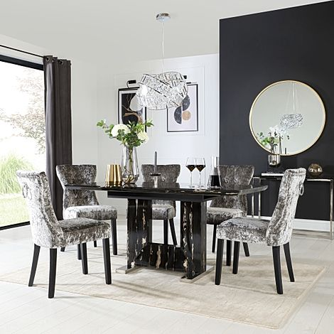 Florence Black Marble Extending Dining Table with 6 Kensington Silver Velvet Button Back Fabric Chai