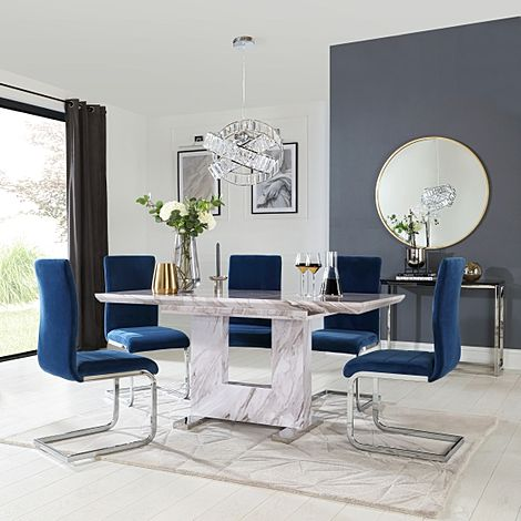 Florence Grey Marble Extending Dining Table with 4 Perth Blue Velvet Chairs