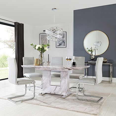 Florence Grey Marble Extending Dining Table with 6 Perth Dove Grey Fabric Chairs