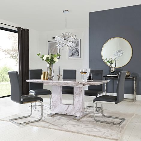 Florence Grey Marble Extending Dining Table with 6 Perth Grey Leather Chairs