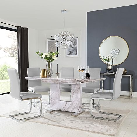 Florence Grey Marble Extending Dining Table with 6 Perth Light Grey Leather Chairs