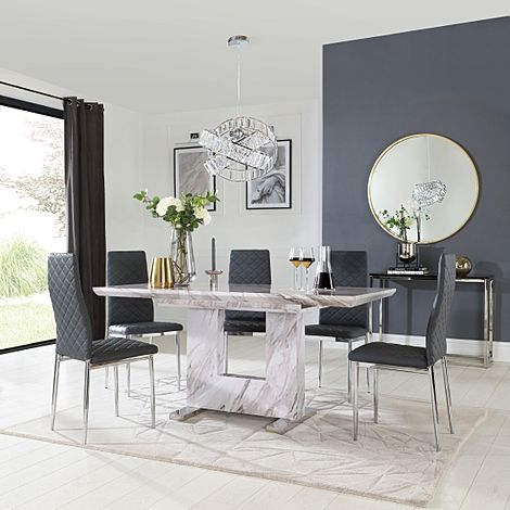 Florence Grey Marble Extending Dining Table with 6 Renzo Grey Leather Chairs