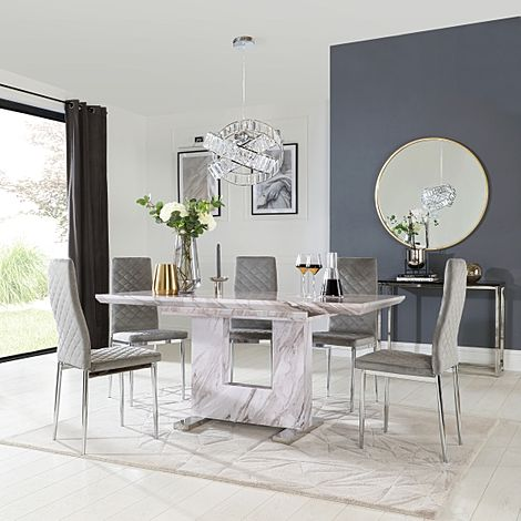 Florence Grey Marble Extending Dining Table with 6 Renzo Grey Velvet Chairs