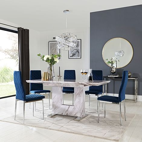 Florence Grey Marble Extending Dining Table with 6 Renzo Blue Velvet Chairs
