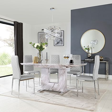 Florence Grey Marble Extending Dining Table with 6 Renzo Light Grey Leather Chairs