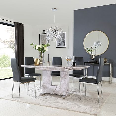 Florence Grey Marble Extending Dining Table with 6 Leon Grey Leather Chairs