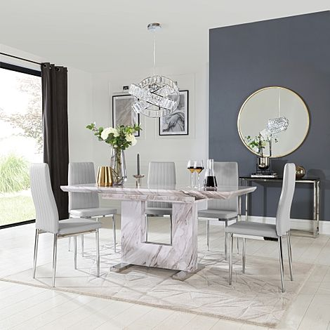 Florence Grey Marble Extending Dining Table with 6 Leon Light Grey Leather Chairs
