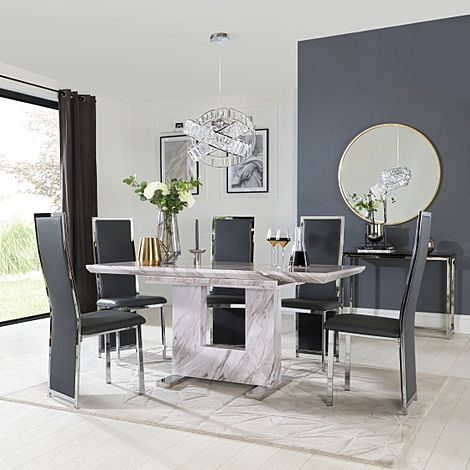 Florence Grey Marble Extending Dining Table with 6 Celeste Grey Leather Chairs