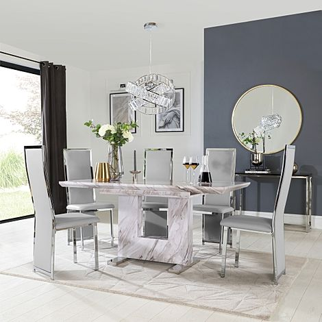 Florence Grey Marble Extending Dining Table with 6 Celeste Light Grey Leather Chairs