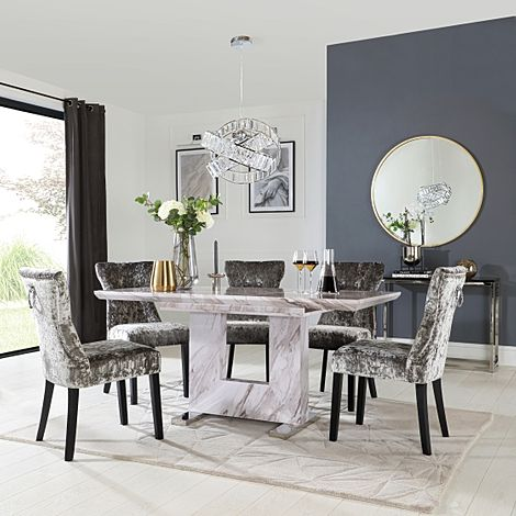 Florence Grey Marble Extending Dining Table with 6 Kensington Silver Velvet Fabric Chairs