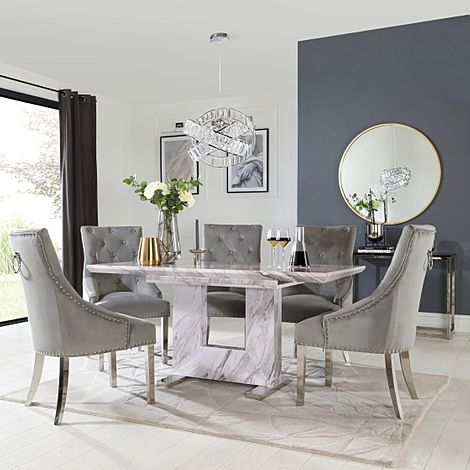 Florence Grey Marble Extending Dining Table with 6 Imperial Grey Velvet Fabric Chairs