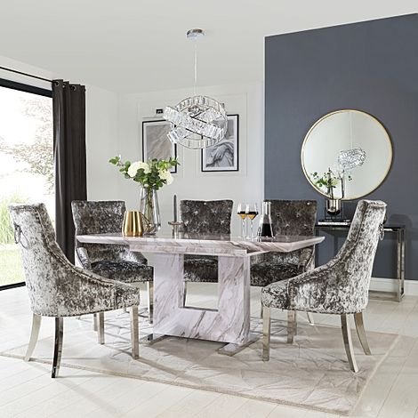 Florence Grey Marble Extending Dining Table with 4 Imperial Silver Velvet Fabric Chairs