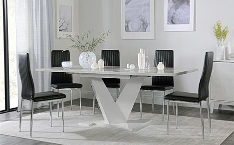 Turin Grey High Gloss Extending Dining Table with 4 Leon Black Leather Chairs