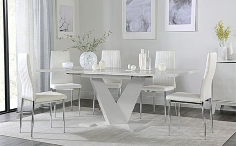 Turin Grey High Gloss Extending Dining Table with 6 Leon White Leather Chairs