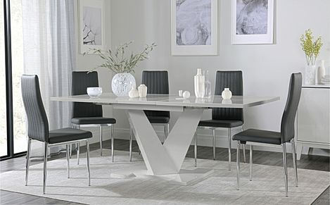 Turin Grey High Gloss Extending Dining Table with 6 Leon Grey Leather Chairs
