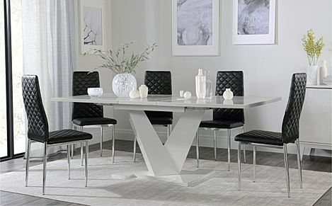Turin Grey High Gloss Extending Dining Table with 6 Renzo Black Leather Chairs