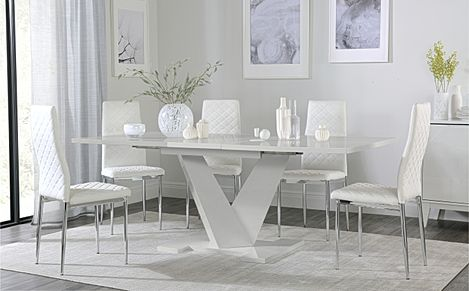 Turin Grey High Gloss Extending Dining Table with 6 Renzo White Leather Chairs