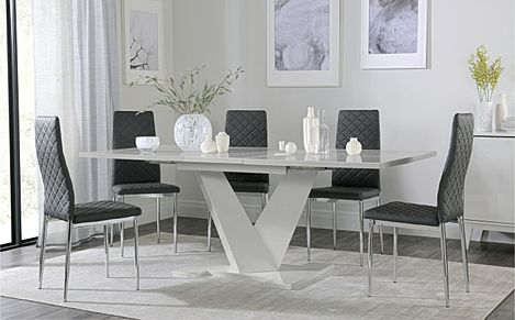 Turin Grey High Gloss Extending Dining Table with 4 Renzo Grey Leather Chairs